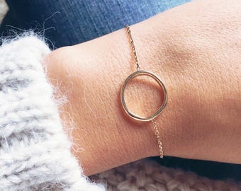 Round bracelet, chain circle plate gold 750 - gold plated bangle