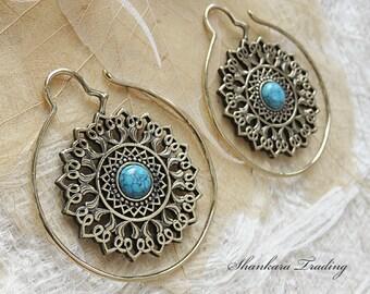 Brass Tribal Earrings, Tribal Ear Weights, Brass Turquoise Earrings, Tribal Ear Expanders, Brass Mandala Earrings