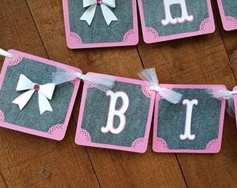 DENIM Happy Birthday Banner, PINK & blue Handmade Banner, Blue Denim Pink Party Decorations, Blue Denim Pink Banner, Garland, Happy Birthday