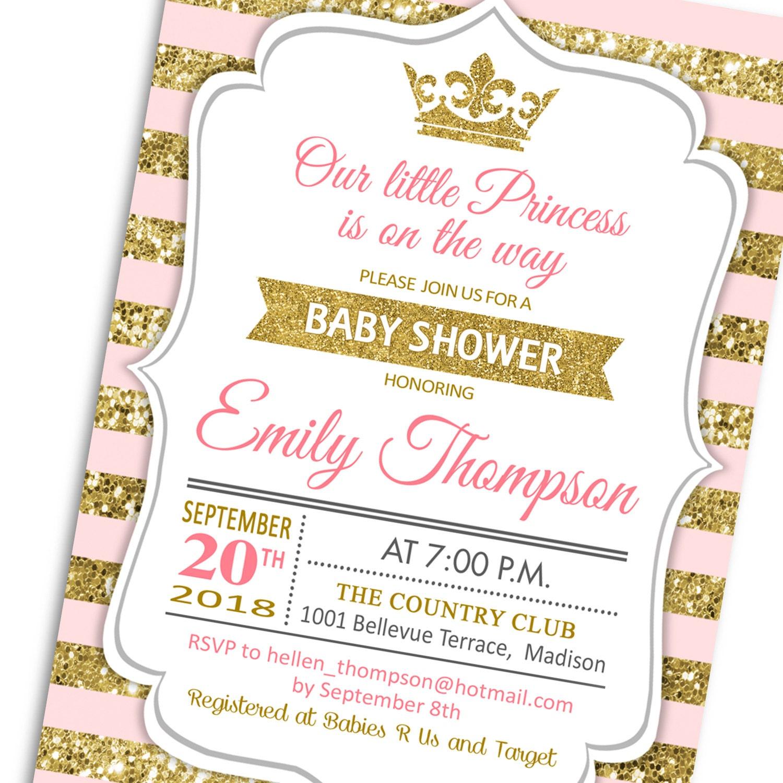 Baby Shower Invitation / Gold Pink White / Princess / Digital ...