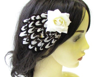 Dark Brown Ivory Pheasant Feather Rose Hair Clip Bridal Fascinator Vintage 1636