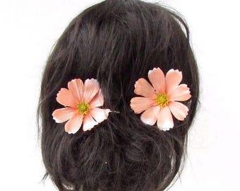 2 x Large Peach Daisy Flower Hair Grips Clips Bobby Pins Slides Bridesmaid 2385