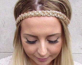 Gold Plaited Chain Headband Festival Boho Elastic Braid Hair Band Grecian 2932