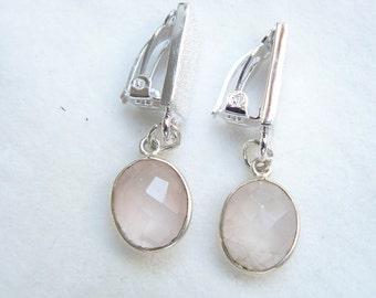 Ear clip silver with rose quartz