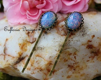 Vintage Hair Pins, Antique Blue Fire Opal Hair Pin Set, Bridal Hair Pins, Blue Glass Opal Hair Clips, Vintage Wedding Hair, Something Blue