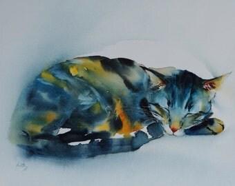 "Postcard. Greeting card. Reproduction watercolor cat ""Sushi sleeps"" blue tabby cat."