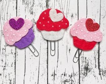 Handmade BIG Cupcake Felt Paperclip Bookmarks