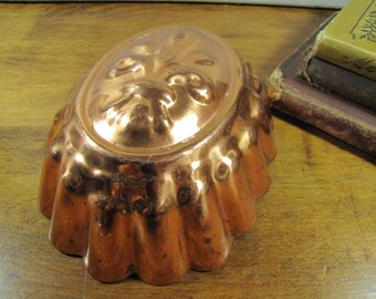 Copper Coated Metal Gelatin Mold - Fleur De Lis Pattern - Oval Shape - Fluted Sides