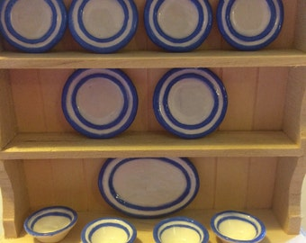 Blue & White striped China (Dollshouse)