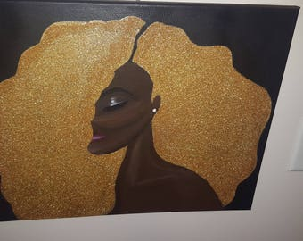"Black art ""Glitter afro Girl"""