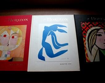 Picasso and Matisse Art Magazine Covers, Horizon Magazine of the Arts, 1961, 1965, 1970