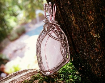 Rose Quartz Wire Wrapped Crystal Necklace