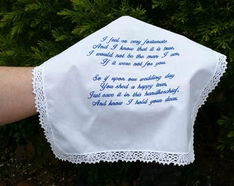 Wedding Handkerchief, Bridal Hanky Embroidered from the Groom to his Mother, Beautiful Lace Edged Hanky.