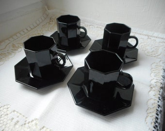 set of 4 vintage French black glass cups and saucers