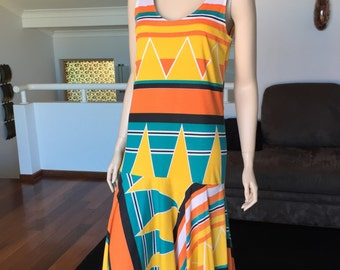 Vintage Abstract Geometric Aztec 80s SUN DRESS
