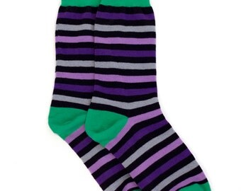 Purple Black Striped Socks. Striped Socks. Mens Socks. Mens Dress Socks. Mens Striped Socks. Wedding Socks. Fun Socks. Colorful Socks. Socks