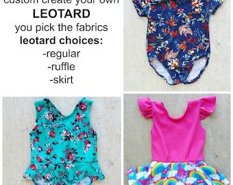 Custom Create your Own LEOTARD, ruffle leotard, skirt leotard, girl leotard, baby leotard, toddler leotard, leos. gymanstics, dance leotard