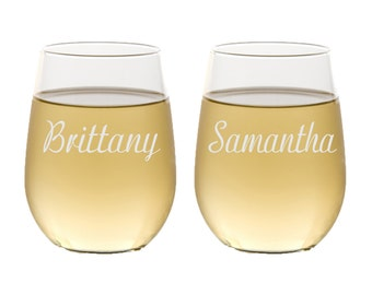 Personalized Bridesmaids Gifts, Stemless Wine Glasses, Engraved Wine Glasses, Custom Wine Glass, Gift for Bridesmaid, Select any Quantity