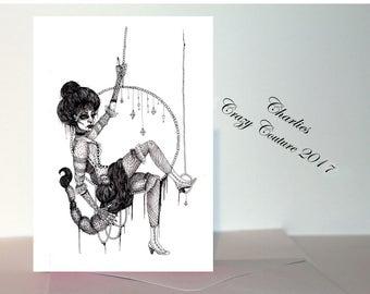 Scorpio Gothic Victorian circus Zodiac/ star sign A6 card