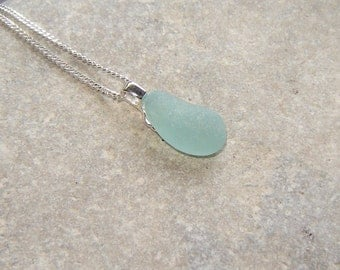 Seaglass Necklace, Green Blue Aqua Small Northumbrian Sea Glass Pendant, Aqua Necklace, Sterling Silver Sea Glass Jewelry, Jewelry Handmade