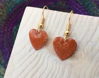 Orange Drop Earrings, Orange Earrings, Drop Earrings, Enamel Earrings, Heart Earrings, Orange Enamel, Copper Earrings, Gold Plated Earrings