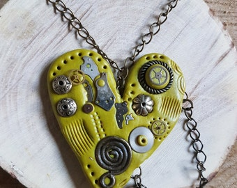 Handmade Polymer clay Steampunk green loveheart necklace