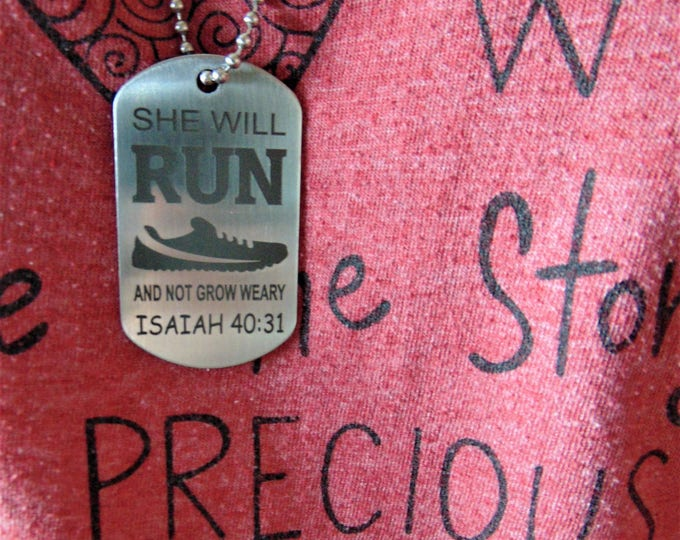 Run And Not Grow Weary Dog Tag, Stainless Steel Running Marathon Jogging women Gift Customize Message in Font