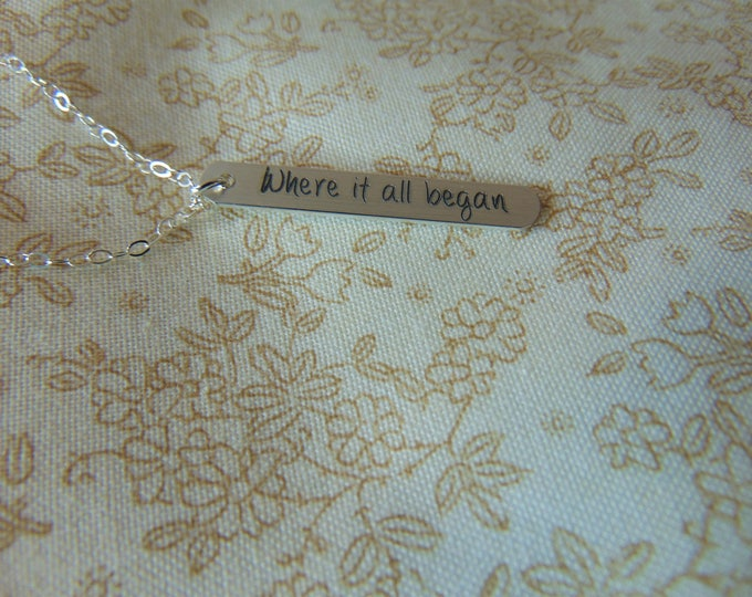 """Custom Message in Computer Font on Sterling Silver Vertical Necklace Latitude Longitude GPS Necklace Custom, Wife Gift (1.250"""" .200"""")"""