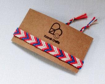 Arrow bracelet macrame hand woven knotted friendship bracelet bright blue pink cream tribal boho bohemian hippie wristband festival surfer