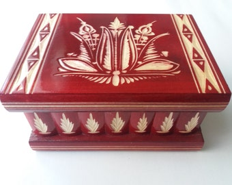 Puzzle box magic box new red wooden special carved jewelry box, wizard mystery box,secret box,tricky box,carved wooden box,perfect gift, toy