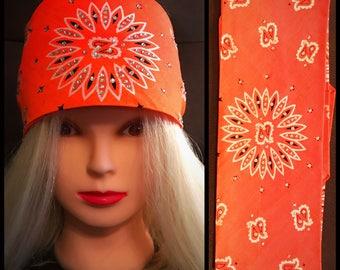 Florescent Orange Bling Bandana Full star