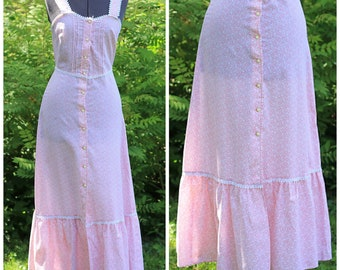 Vintage 1970's Sweet Pink and White 100% Cotton Fitted Prairie Summer Dress Size Small