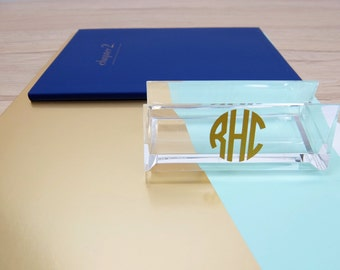 Business Card Holder Acrylic Monogram Personalized Single