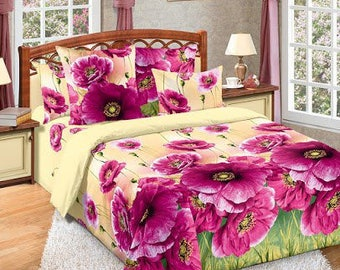 Set of Flowers Poppies Purple Yellow 3D bedding sheets -Twin Queen sheets- fitted\flat sheets pilow cases - custom sheets set organic cotton