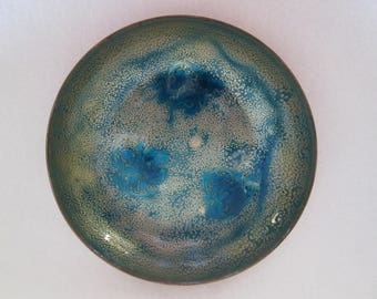 Vintage Blues Golds and Greens Enameled Copper Shallow Dish Bowl Abstract Modern Fred's Copper Shop