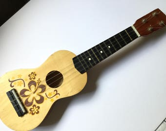 TOY UKULELE with HIBISCUS Flowers Painted in Yellow and Brown