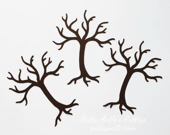Tree Die Cuts, Bare Tree Die Cuts, Dead Tree Die Cuts, Halloween Die Cuts, Paper Tree, 4 Ct.