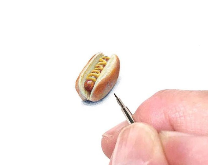 Original Miniature painting of a Hotdog with Mustard tiny painting, Hotdog tiny art 5 x 5