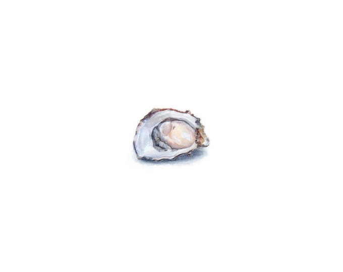 "Print of miniature painting of an Oyster on the Half Shell. 1 1/4 x 1 1/4"" print of a Raw Oyster painting on 5"" square german etching paper"