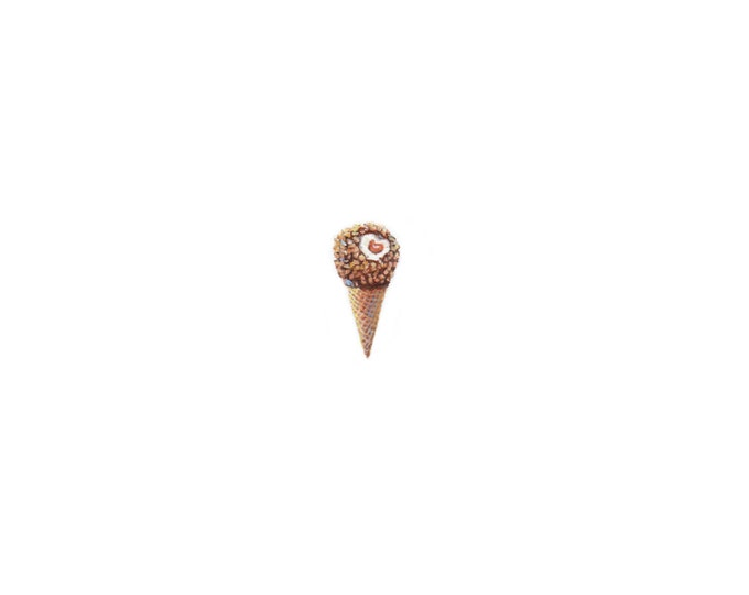 "Print of miniature painting of Drumstick Ice Cream Cone. 1 1/4 x 1 1/4"" print of a Drumstick painting on 5"" square german etching paper"