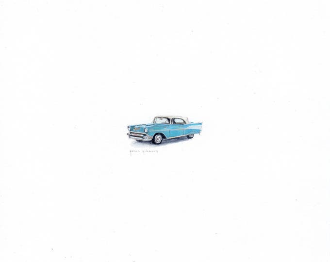 "Print of miniature painting of a 1957 Chevy. 1 1/4"" x 1 1/4"" print of original 57 Chevy painting on 5"" square german etching paper"