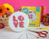 Cross stitch kit, LOVE cross stitch, valentines gift, modern stitch, counted cross stitch, gifts for her, needlepoint, galentines day
