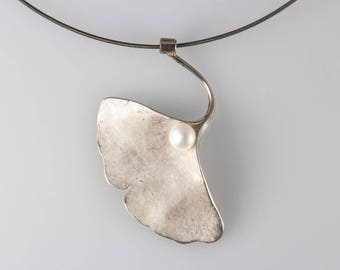 Sterling Silver Ginkgo Leaf with Pearl