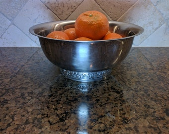 Stainless Steel Bowl, vintage bowl, footed decorative bowl, fruit bowl, candy bowl, home decor, kitchen decor