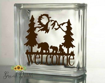Welcome Bears silhouette vinyl decal - glass block - DIY - cabin decor - ceramic tile - sticker - DIY - SOPH01