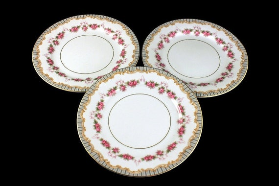 Salad Plates, Noritake, Ridgewood Pattern, Floral Design, Fine China, Rose Swag Pattern, Set of 3