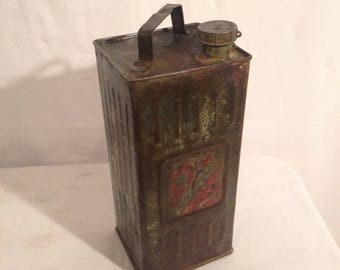 Old AUTOMOBILINE crude painted Vintage Metal gas can