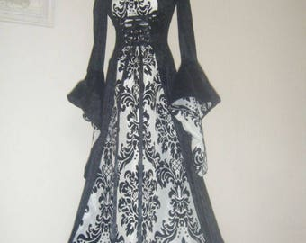 medieval renaissance costume in any colour for wedding, pagan, whitby, halloween , handfasting any size made to order