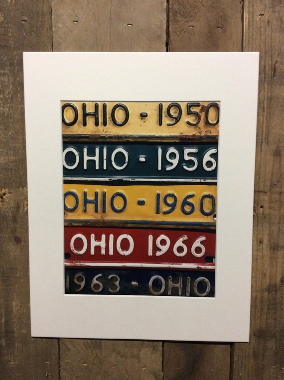 License Plate Art Print 8 x 10 photo in 11 x 14 mat - Ohio matted print (Rustic Apple Art seen in Country Living Mag)