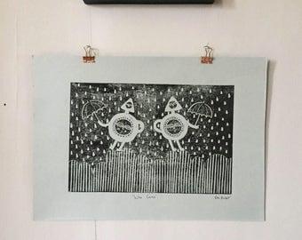 Who Cares? Linocut Print